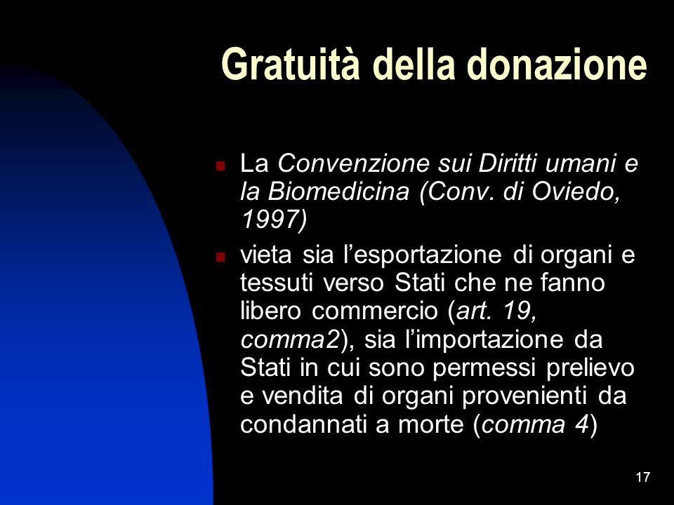 17 Gratuità della donazione La Convenzione sui Diritti umani e la Biomedicina (Conv. di Oviedo, 1997) vieta sia lesportazione di organi e tessuti vers