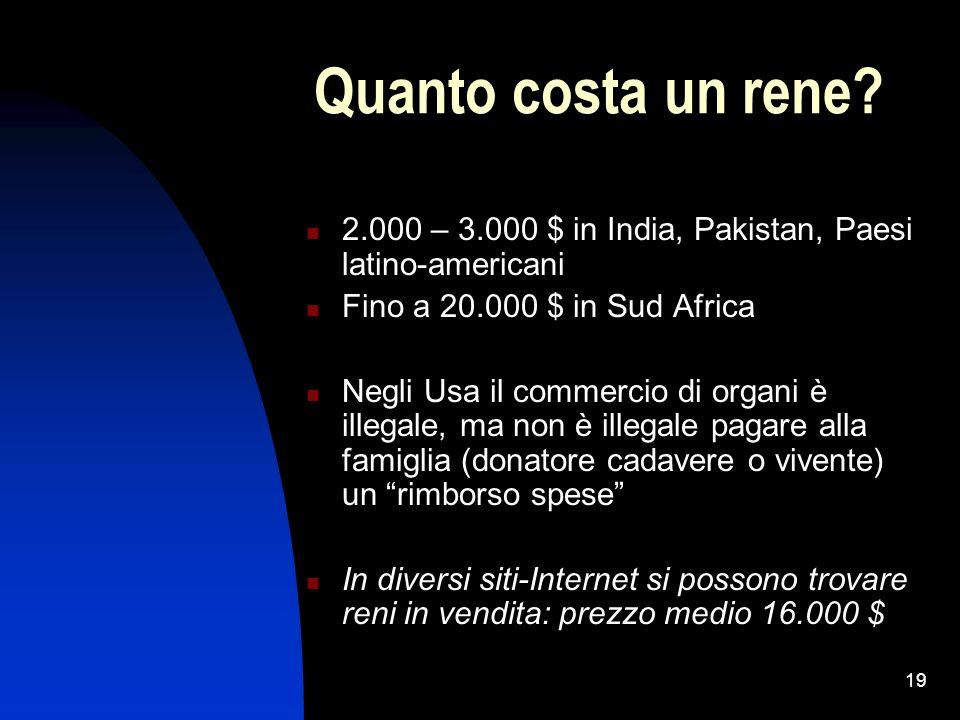 19 Quanto costa un rene? 2.000 – 3.000 $ in India, Pakistan, Paesi latino-americani Fino a 20.000 $ in Sud Africa Negli Usa il commercio di organi è i