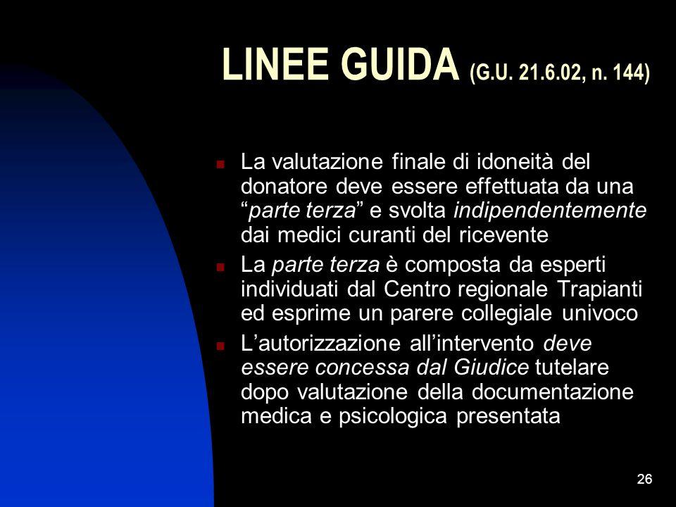 26 LINEE GUIDA (G.U. 21.6.02, n. 144) La valutazione finale di idoneità del donatore deve essere effettuata da unaparte terza e svolta indipendentemen