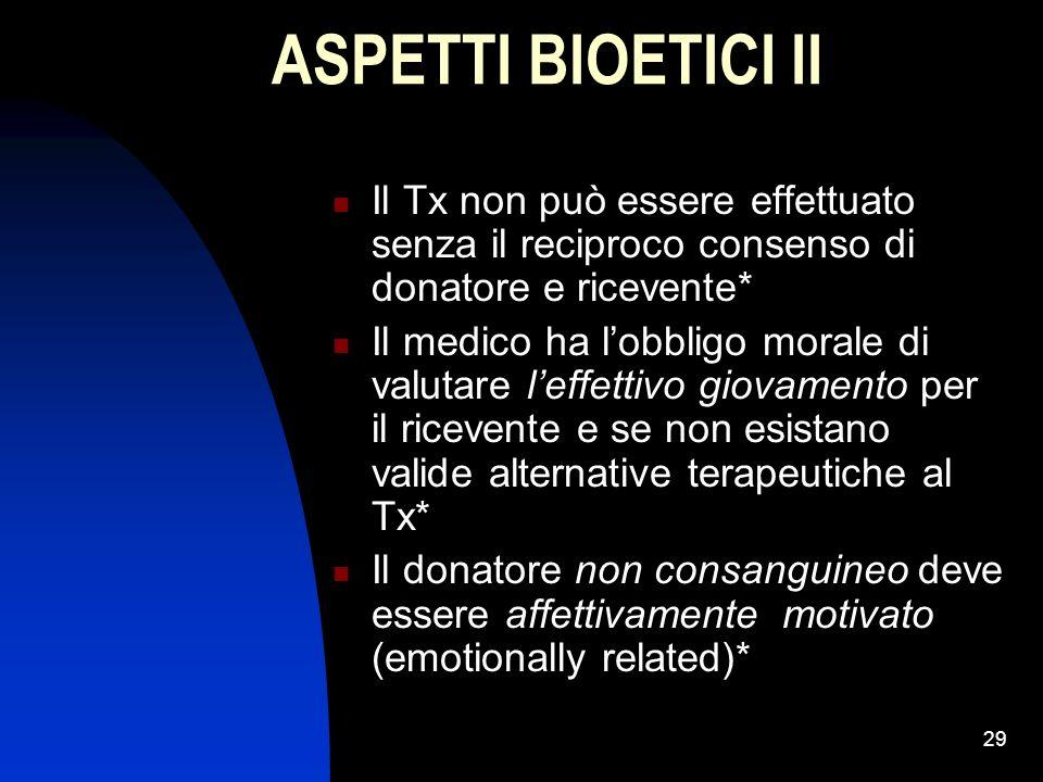 29 ASPETTI BIOETICI II Il Tx non può essere effettuato senza il reciproco consenso di donatore e ricevente* Il medico ha lobbligo morale di valutare l