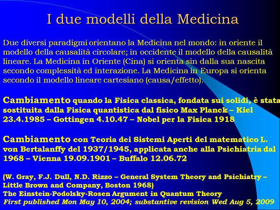 I due modelli della Medicina I due modelli della Medicina Due diversi paradigmi orientano la Medicina nel mondo: in oriente il modello della causalità