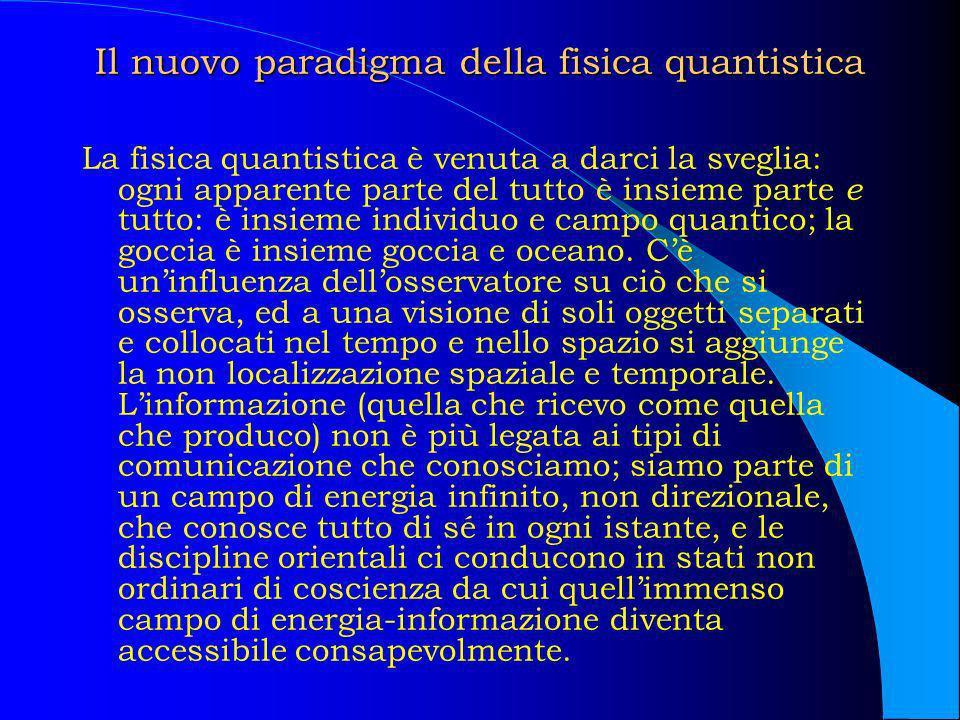 Il nuovo paradigma della fisica quantistica La fisica quantistica è venuta a darci la sveglia: ogni apparente parte del tutto è insieme parte e tutto: