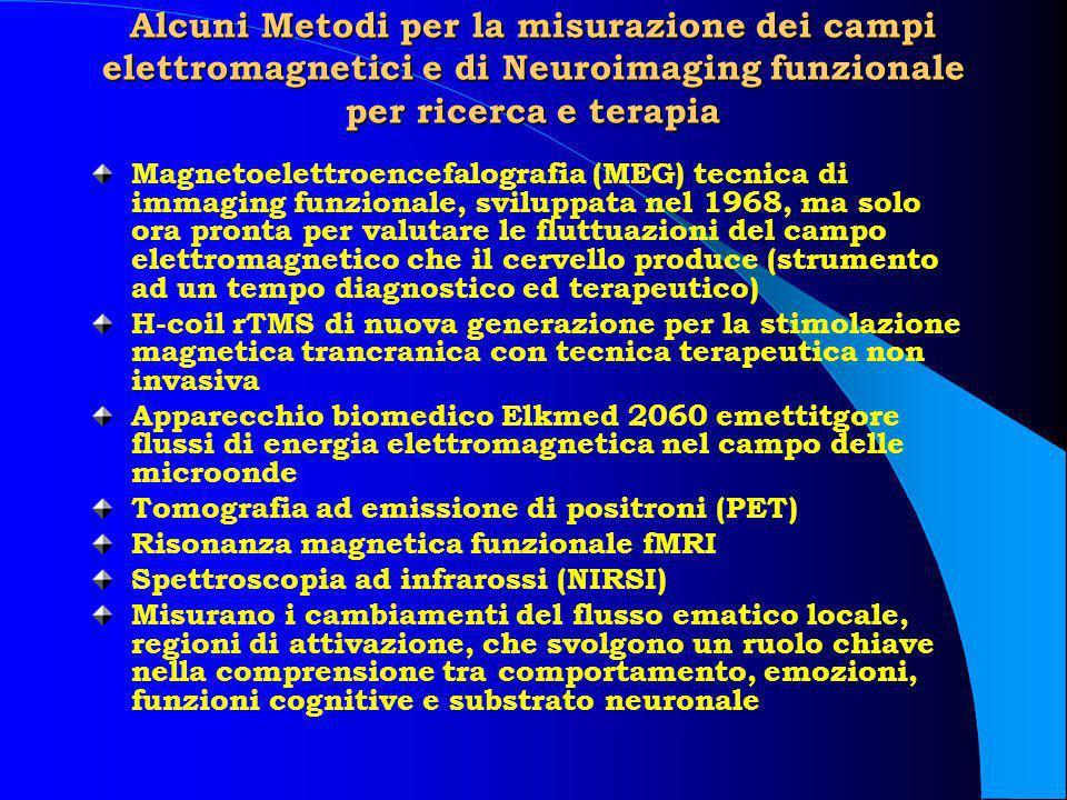 Alcuni Metodi per la misurazione dei campi elettromagnetici e di Neuroimaging funzionale per ricerca e terapia Magnetoelettroencefalografia (MEG) tecn