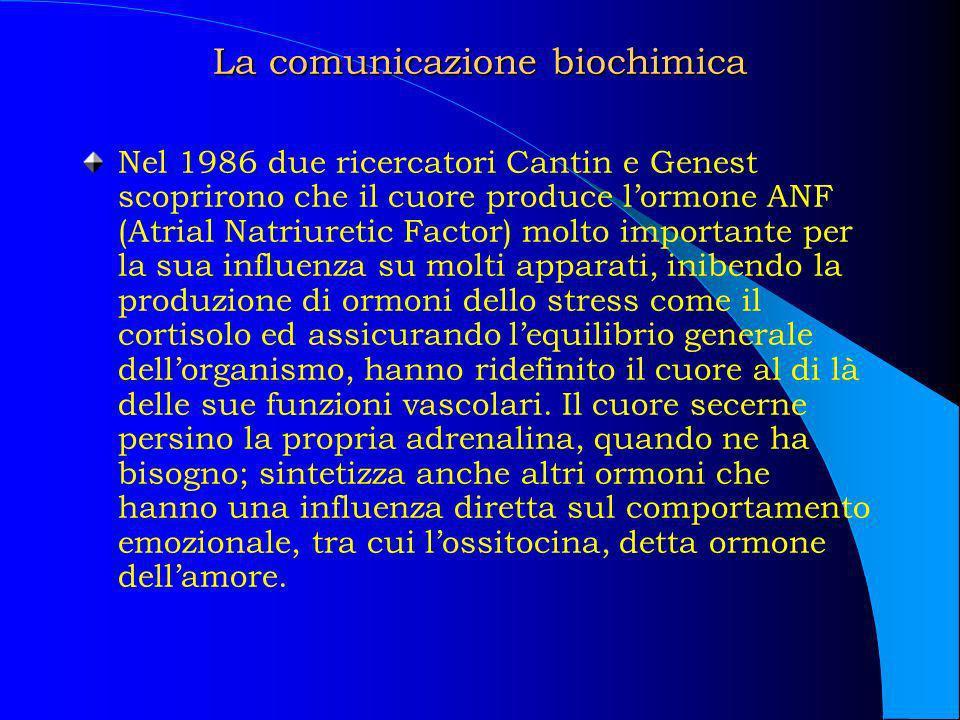 La comunicazione biochimica Nel 1986 due ricercatori Cantin e Genest scoprirono che il cuore produce lormone ANF (Atrial Natriuretic Factor) molto imp