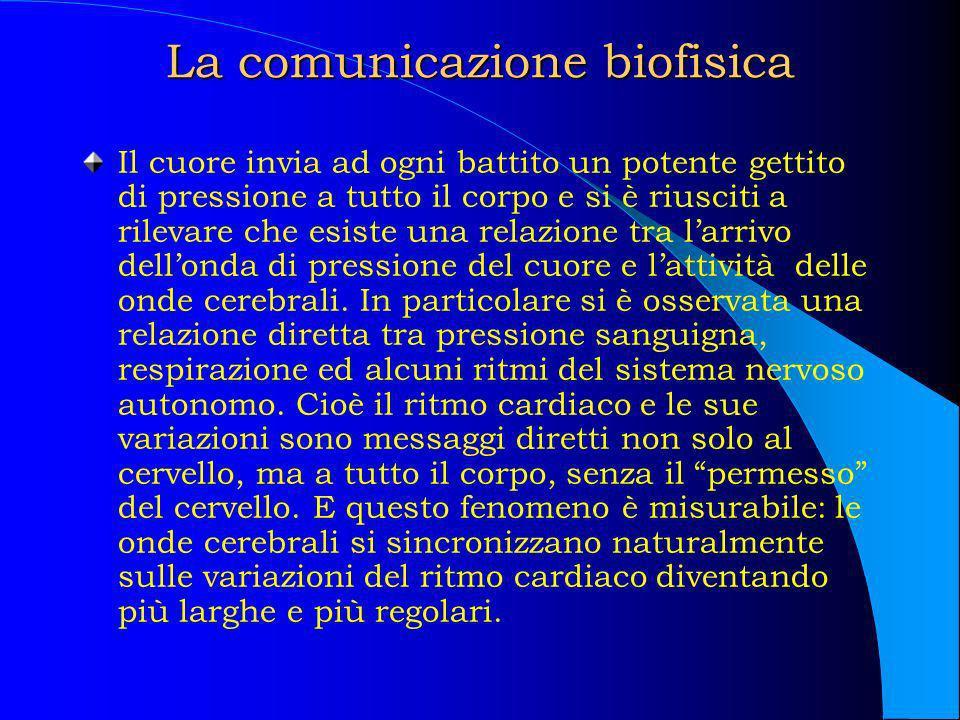 La comunicazione biofisica Il cuore invia ad ogni battito un potente gettito di pressione a tutto il corpo e si è riusciti a rilevare che esiste una r