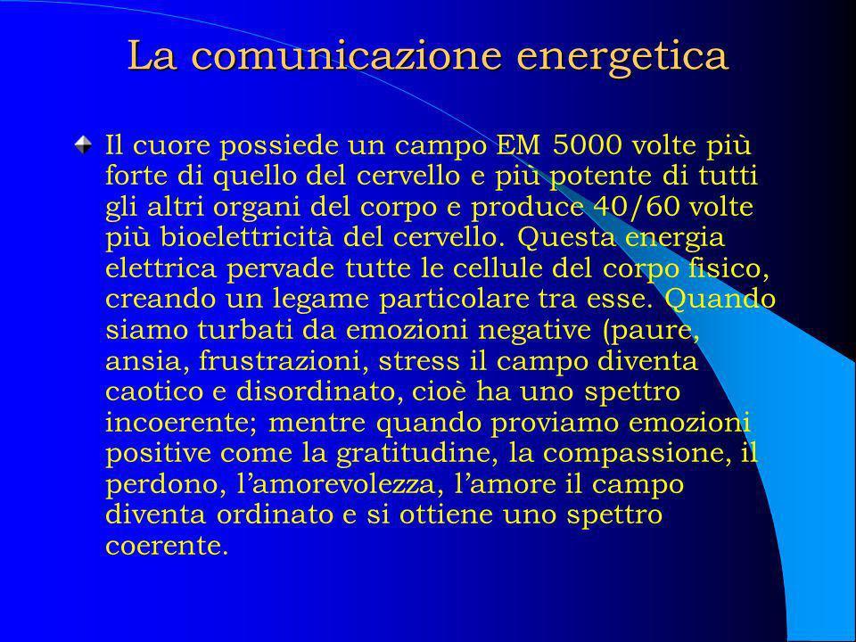 La comunicazione energetica Il cuore possiede un campo EM 5000 volte più forte di quello del cervello e più potente di tutti gli altri organi del corp