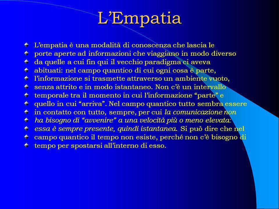 LEmpatia Lempatia è una modalità di conoscenza che lascia le porte aperte ad informazioni che viaggiano in modo diverso da quelle a cui fin qui il vec