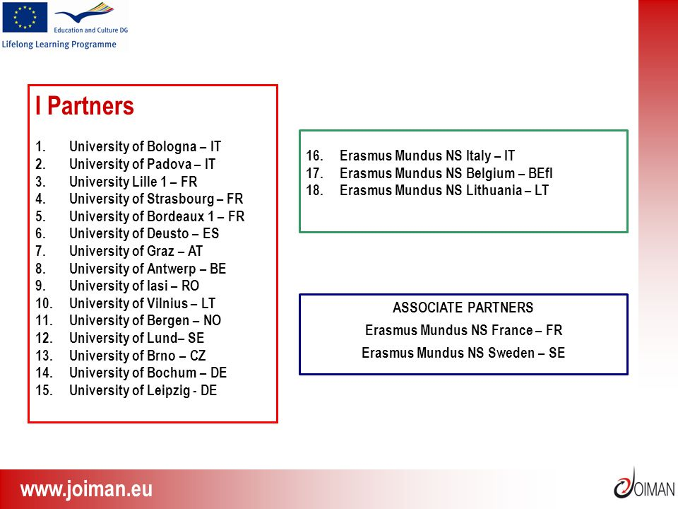www.joiman.eu I Partners 1.University of Bologna – IT 2.University of Padova – IT 3.University Lille 1 – FR 4.University of Strasbourg – FR 5.Universi