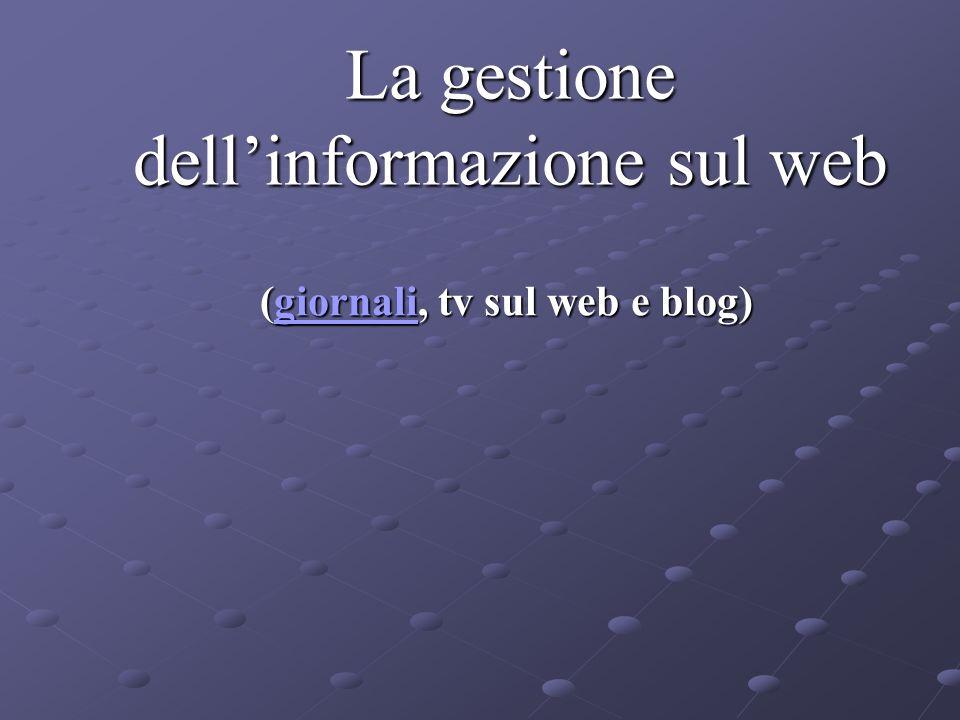 La gestione dellinformazione sul web (giornali, tv sul web e blog) giornali