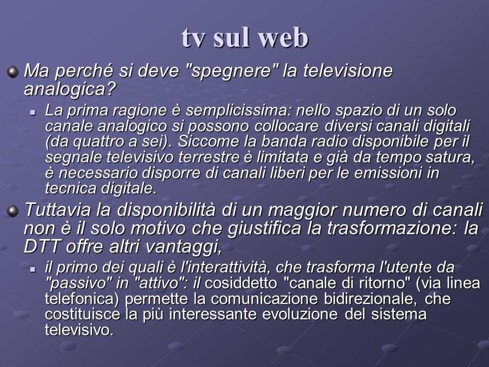 Oggi abbiamo: 1.La televisione terrestre tradizionale (alla fine del ciclo); 2.