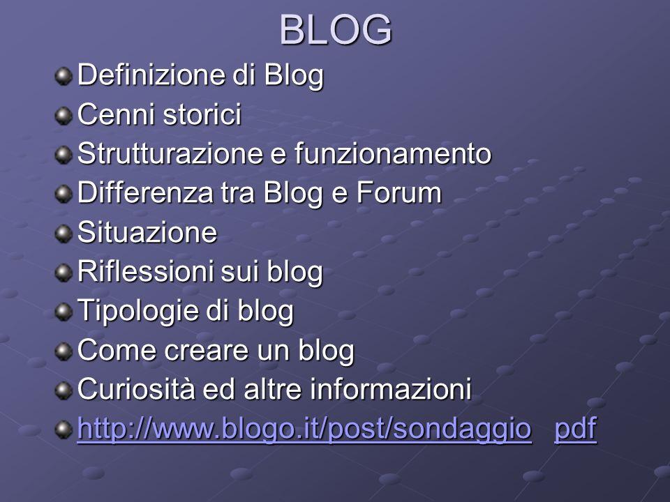 Definizione di Blog Cenni storici Strutturazione e funzionamento Differenza tra Blog e Forum Situazione Riflessioni sui blog Tipologie di blog Come cr
