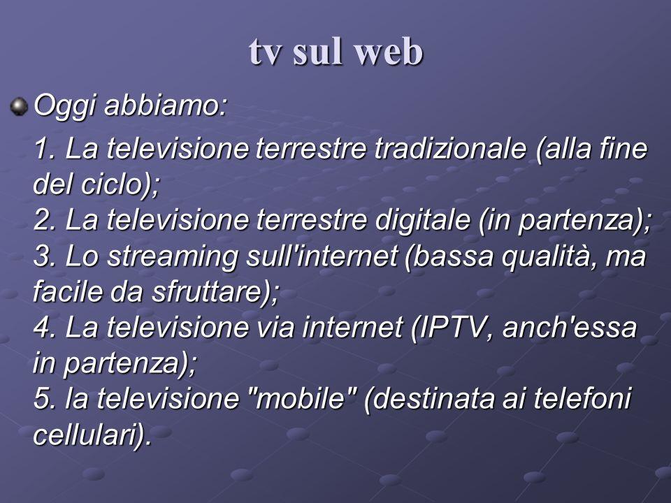 Oggi abbiamo: 1. La televisione terrestre tradizionale (alla fine del ciclo); 2. La televisione terrestre digitale (in partenza); 3. Lo streaming sull