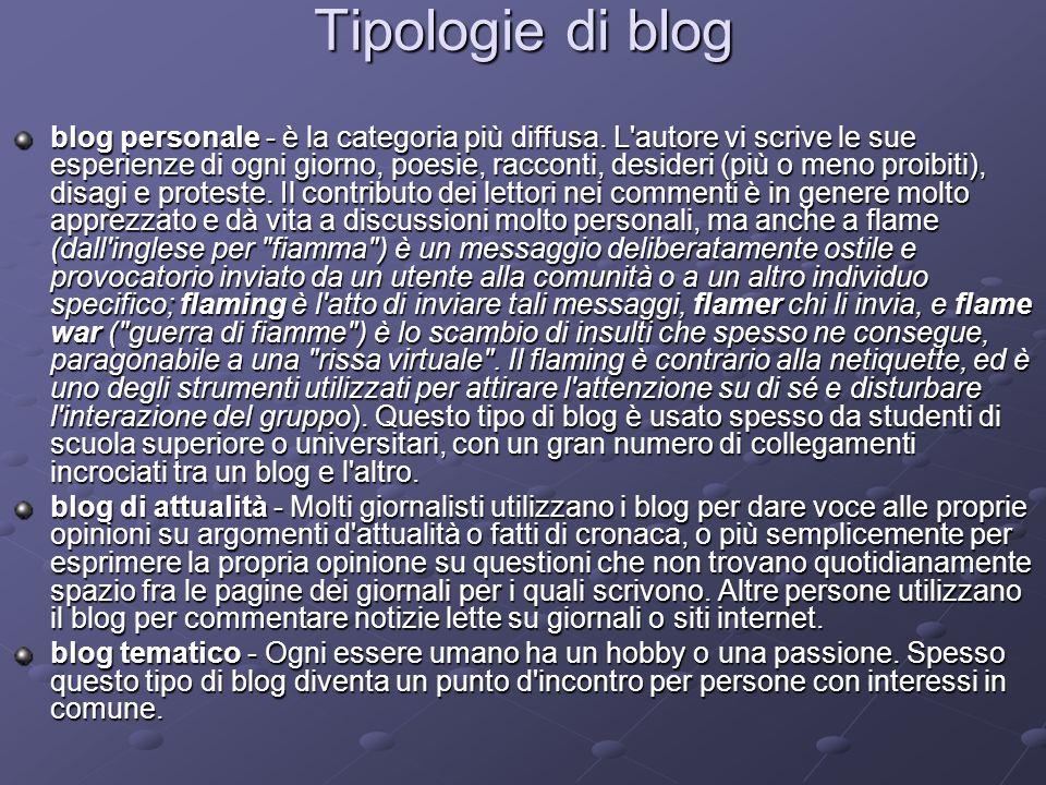 Tipologie di blog blog personale - è la categoria più diffusa. L'autore vi scrive le sue esperienze di ogni giorno, poesie, racconti, desideri (più o