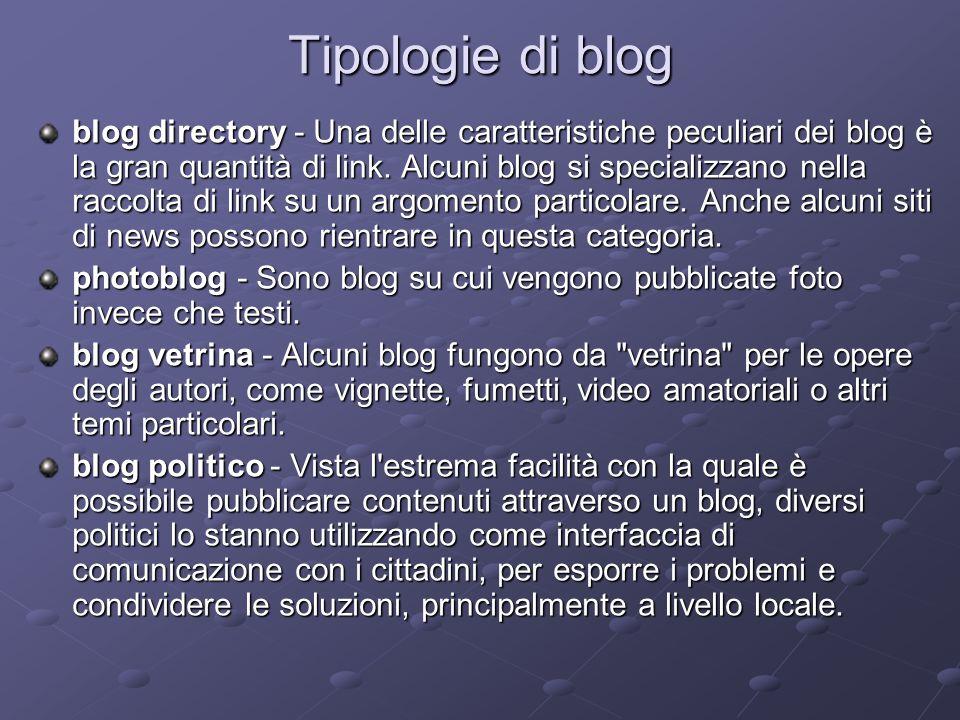 Tipologie di blog blog directory - Una delle caratteristiche peculiari dei blog è la gran quantità di link. Alcuni blog si specializzano nella raccolt