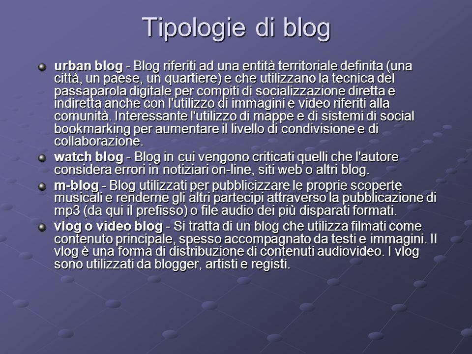 Tipologie di blog urban blog - Blog riferiti ad una entità territoriale definita (una città, un paese, un quartiere) e che utilizzano la tecnica del p