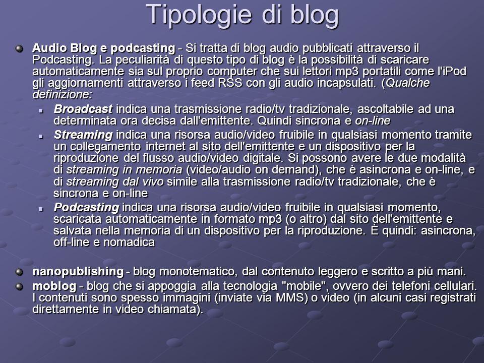 Tipologie di blog Audio Blog e podcasting - Si tratta di blog audio pubblicati attraverso il Podcasting. La peculiarità di questo tipo di blog è la po