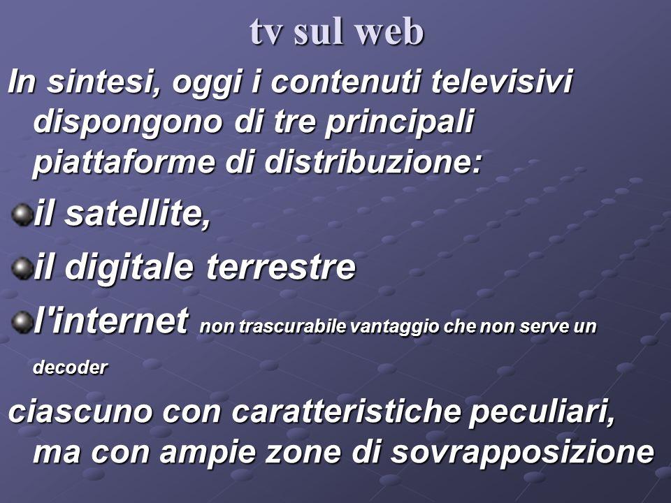 In sintesi, oggi i contenuti televisivi dispongono di tre principali piattaforme di distribuzione: il satellite, il digitale terrestre l'internet non
