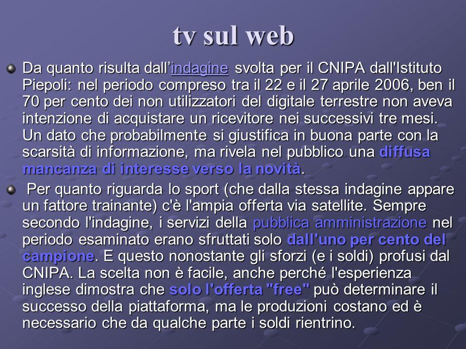 Da quanto risulta dallindagine svolta per il CNIPA dall'Istituto Piepoli: nel periodo compreso tra il 22 e il 27 aprile 2006, ben il 70 per cento dei