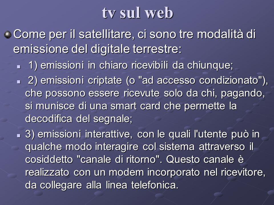 Come per il satellitare, ci sono tre modalità di emissione del digitale terrestre: 1) emissioni in chiaro ricevibili da chiunque; 1) emissioni in chia