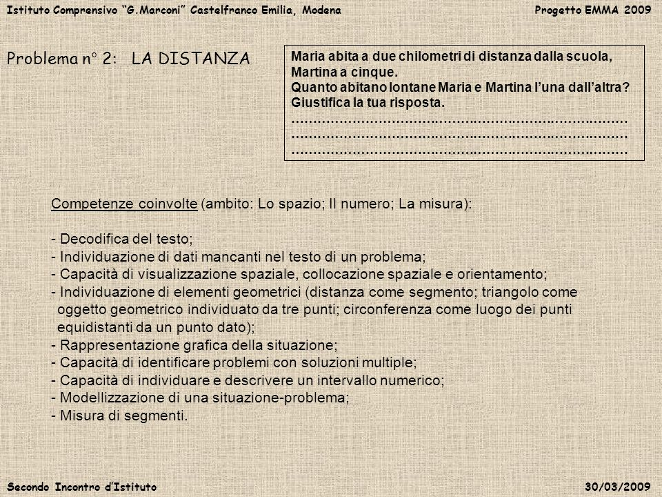 Istituto Comprensivo G.Marconi Castelfranco Emilia, Modena Progetto EMMA 2009 Secondo Incontro dIstituto 30/03/2009 Problema n° 2: LA DISTANZA Maria a