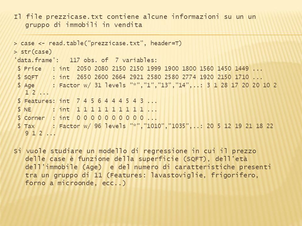 Il file prezzicase.txt contiene alcune informazioni su un un gruppo di immobili in vendita > case <- read.table(