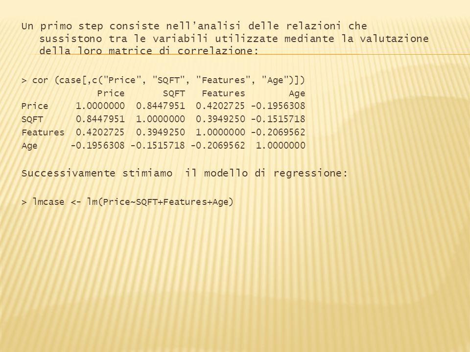 Un primo step consiste nellanalisi delle relazioni che sussistono tra le variabili utilizzate mediante la valutazione della loro matrice di correlazio