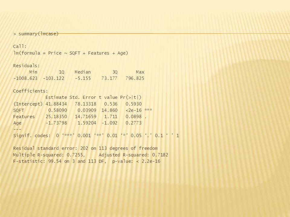 > summary(lmcase) Call: lm(formula = Price ~ SQFT + Features + Age) Residuals: Min 1Q Median 3Q Max -1008.623 -103.122 -5.155 73.177 796.825 Coefficie