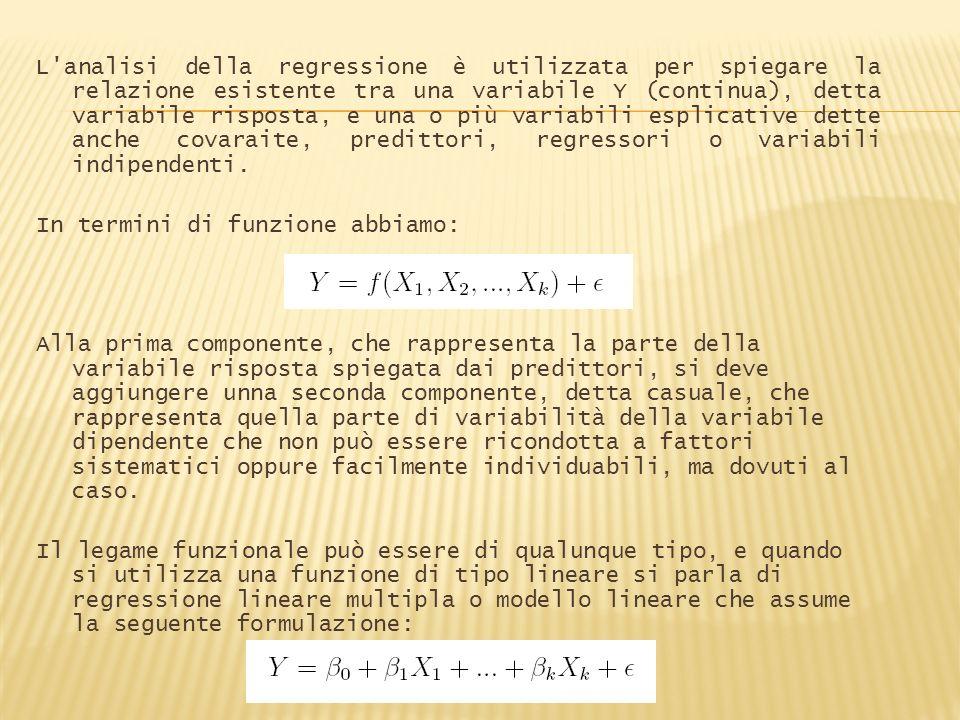 Un primo step consiste nellanalisi delle relazioni che sussistono tra le variabili utilizzate mediante la valutazione della loro matrice di correlazione: > cor (case[,c( Price , SQFT , Features , Age )]) Price SQFT Features Age Price 1.0000000 0.8447951 0.4202725 -0.1956308 SQFT 0.8447951 1.0000000 0.3949250 -0.1515718 Features 0.4202725 0.3949250 1.0000000 -0.2069562 Age -0.1956308 -0.1515718 -0.2069562 1.0000000 Successivamente stimiamo il modello di regressione: > lmcase <- lm(Price~SQFT+Features+Age)