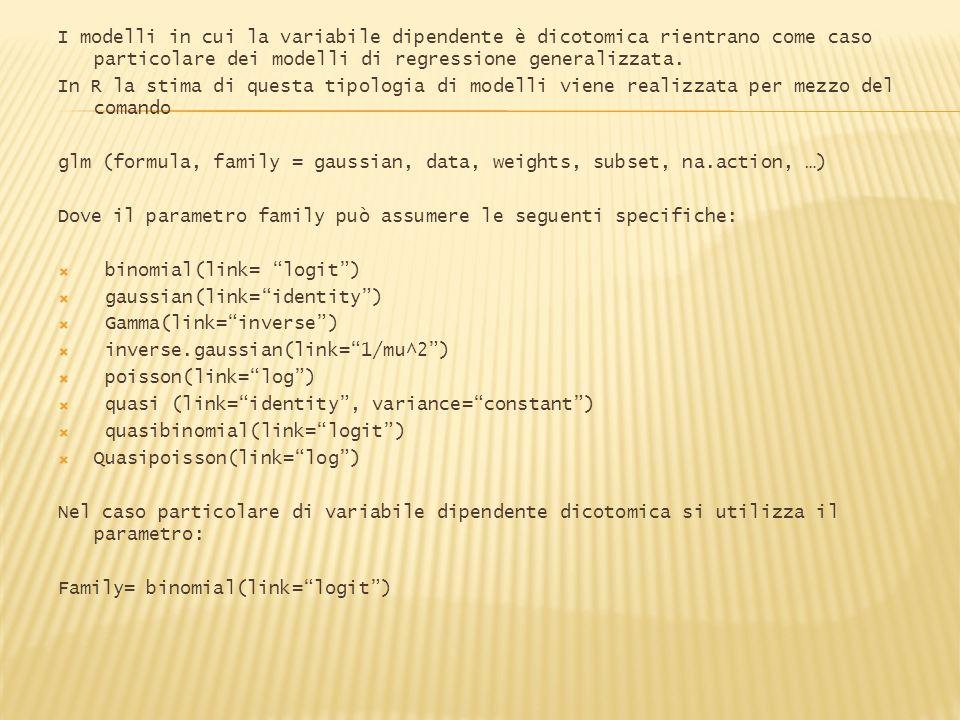 I modelli in cui la variabile dipendente è dicotomica rientrano come caso particolare dei modelli di regressione generalizzata. In R la stima di quest