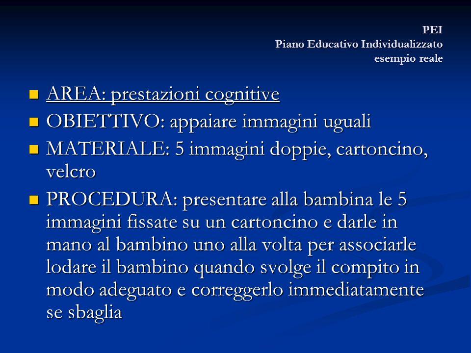 PEI Piano Educativo Individualizzato esempio reale AREA: prestazioni cognitive AREA: prestazioni cognitive OBIETTIVO: appaiare immagini uguali OBIETTI