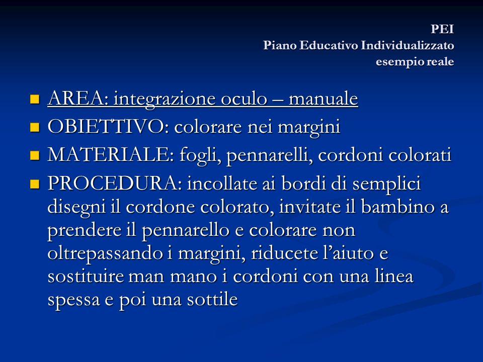 PEI Piano Educativo Individualizzato esempio reale AREA: integrazione oculo – manuale AREA: integrazione oculo – manuale OBIETTIVO: colorare nei margi