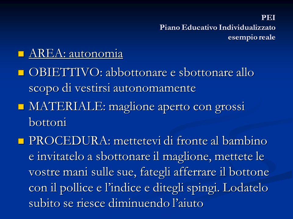 PEI Piano Educativo Individualizzato esempio reale AREA: autonomia AREA: autonomia OBIETTIVO: abbottonare e sbottonare allo scopo di vestirsi autonoma