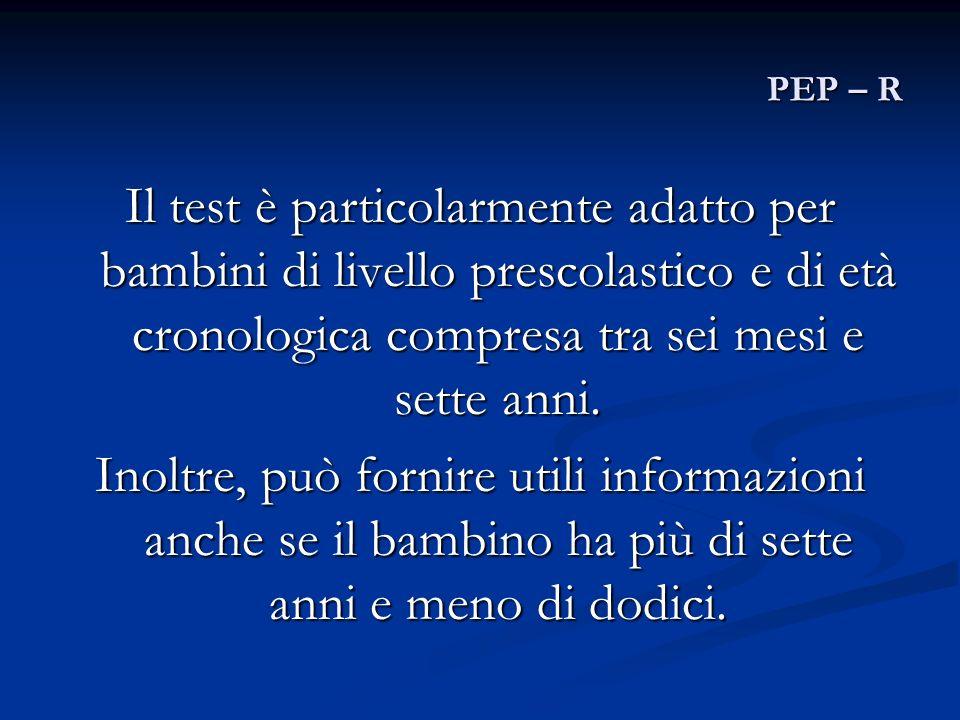 PEP – R Il test è particolarmente adatto per bambini di livello prescolastico e di età cronologica compresa tra sei mesi e sette anni. Inoltre, può fo