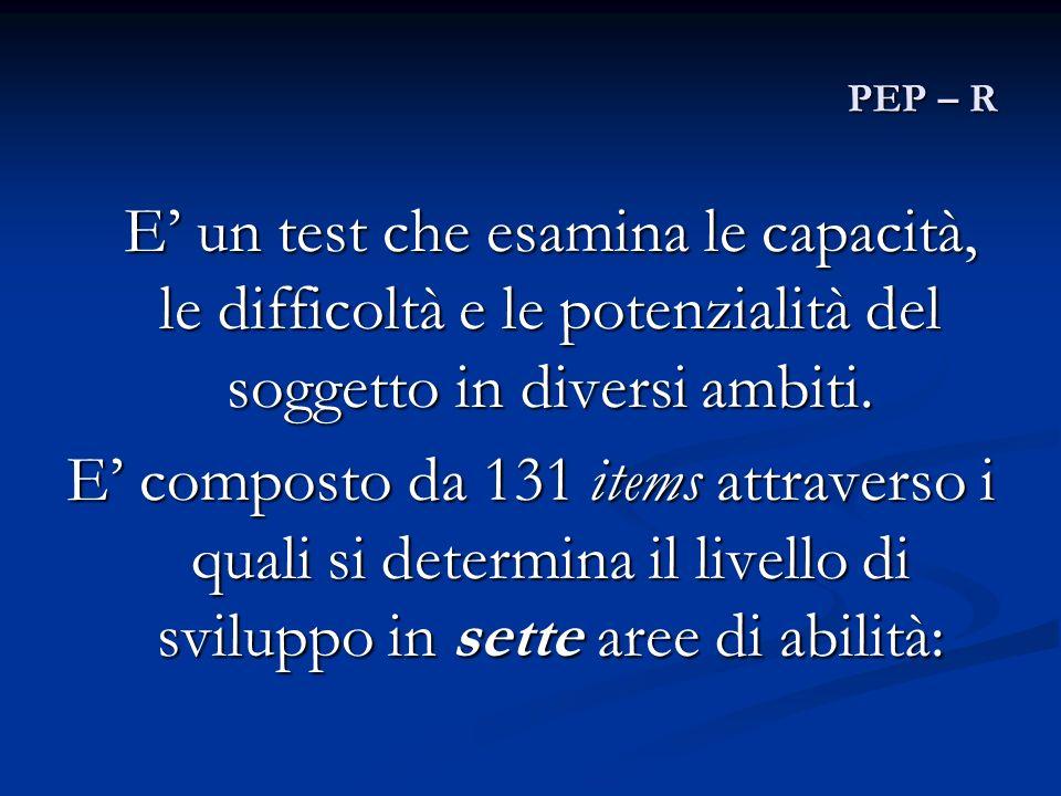 PEP – R E un test che esamina le capacità, le difficoltà e le potenzialità del soggetto in diversi ambiti. E composto da 131 items attraverso i quali