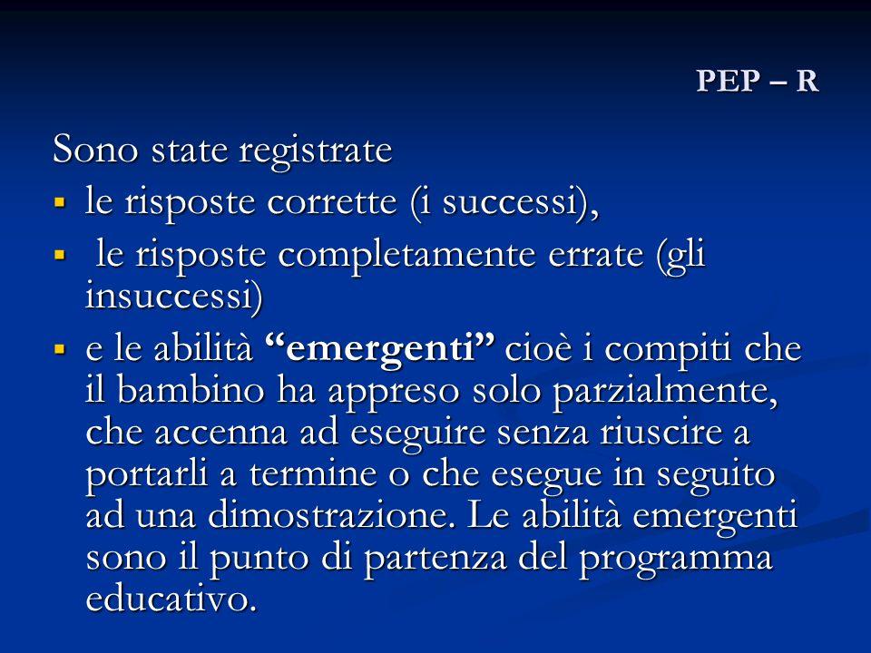 PEP – R Sono state registrate le risposte corrette (i successi), le risposte corrette (i successi), le risposte completamente errate (gli insuccessi)
