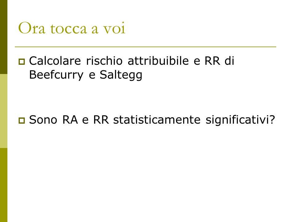Ora tocca a voi Calcolare rischio attribuibile e RR di Beefcurry e Saltegg Sono RA e RR statisticamente significativi?