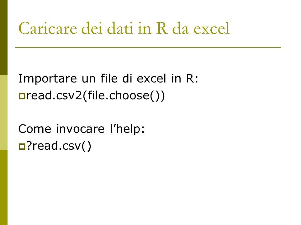 Caricare dei dati in R da excel Importare un file di excel in R: read.csv2(file.choose()) Come invocare lhelp: ?read.csv()