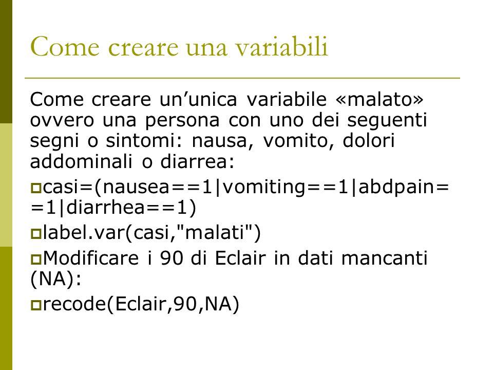 Come creare una variabili Come creare ununica variabile «malato» ovvero una persona con uno dei seguenti segni o sintomi: nausa, vomito, dolori addomi