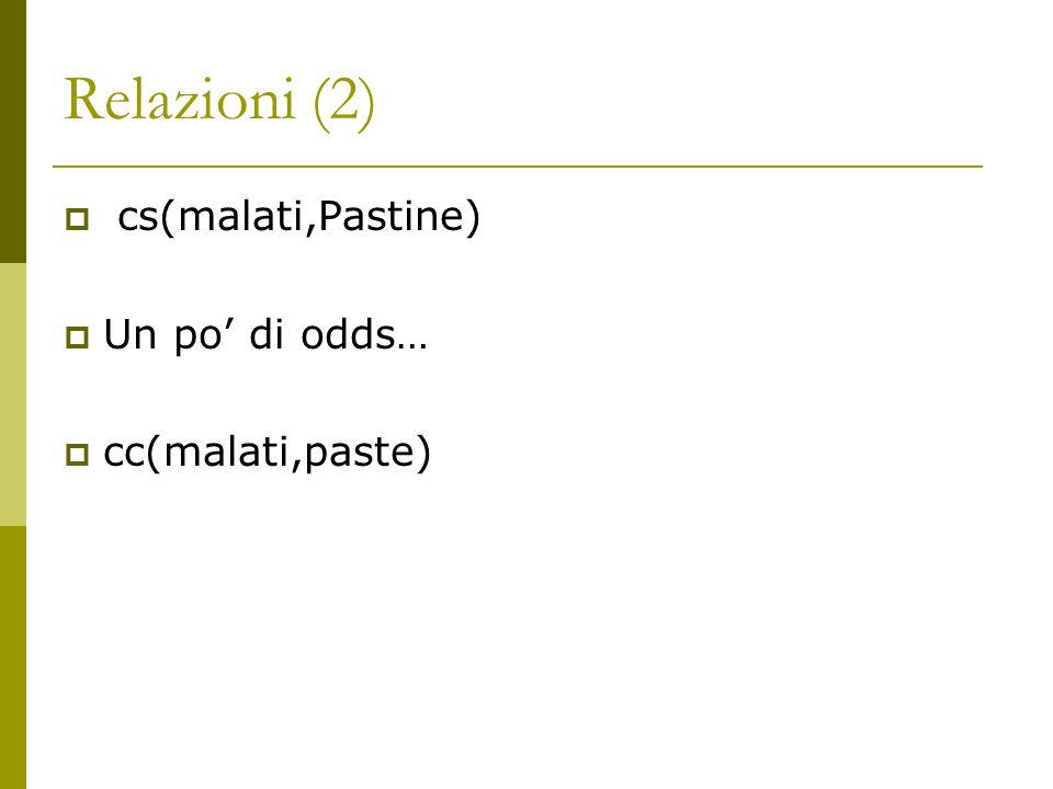 Relazioni (2) cs(malati,Pastine) Un po di odds… cc(malati,paste)