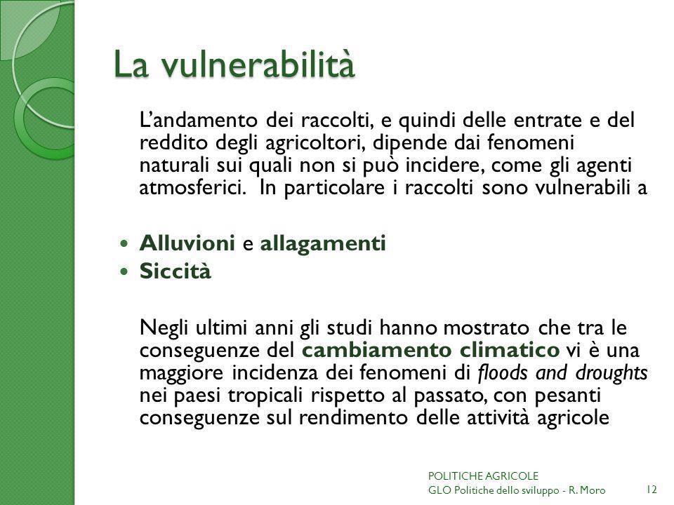 La vulnerabilità Landamento dei raccolti, e quindi delle entrate e del reddito degli agricoltori, dipende dai fenomeni naturali sui quali non si può incidere, come gli agenti atmosferici.