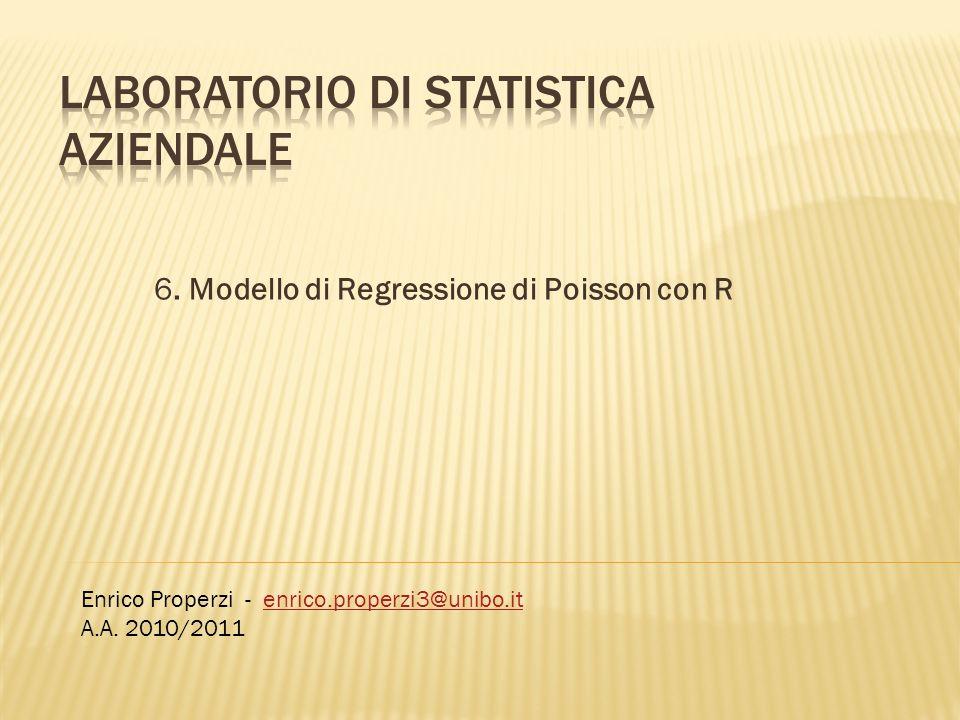 6. Modello di Regressione di Poisson con R Enrico Properzi - enrico.properzi3@unibo.itenrico.properzi3@unibo.it A.A. 2010/2011