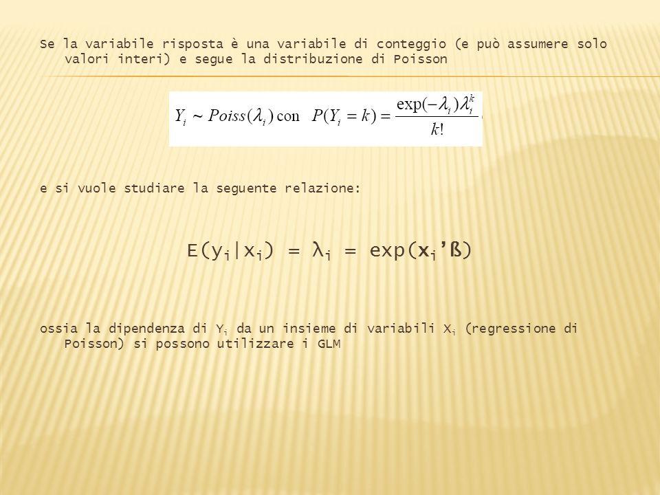 Se la variabile risposta è una variabile di conteggio (e può assumere solo valori interi) e segue la distribuzione di Poisson e si vuole studiare la s