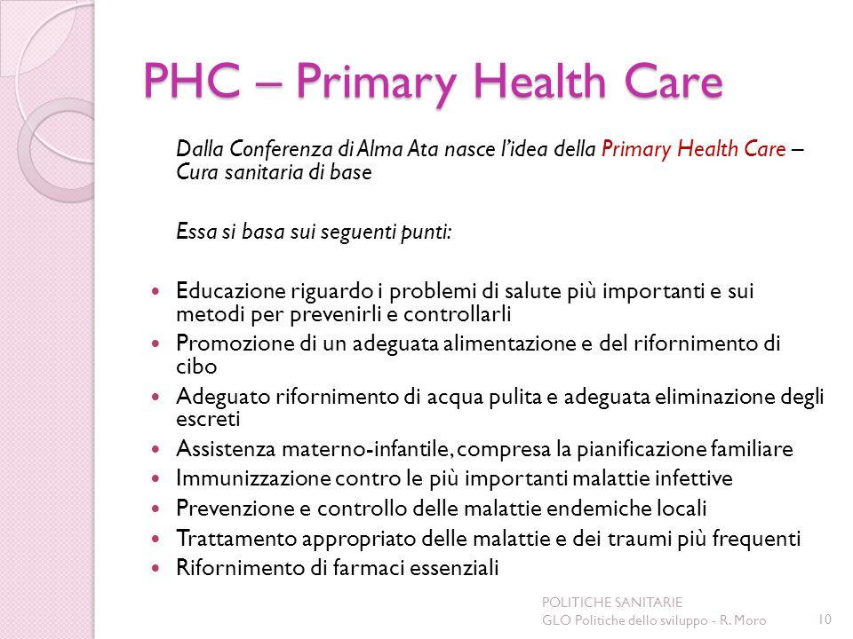 PHC – Primary Health Care Dalla Conferenza di Alma Ata nasce lidea della Primary Health Care – Cura sanitaria di base Essa si basa sui seguenti punti: