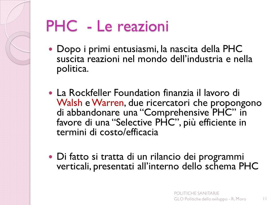 PHC - Le reazioni Dopo i primi entusiasmi, la nascita della PHC suscita reazioni nel mondo dellindustria e nella politica. La Rockfeller Foundation fi