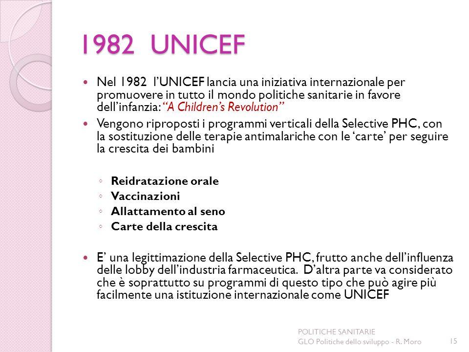 1982 UNICEF Nel 1982 lUNICEF lancia una iniziativa internazionale per promuovere in tutto il mondo politiche sanitarie in favore dellinfanzia: A Child