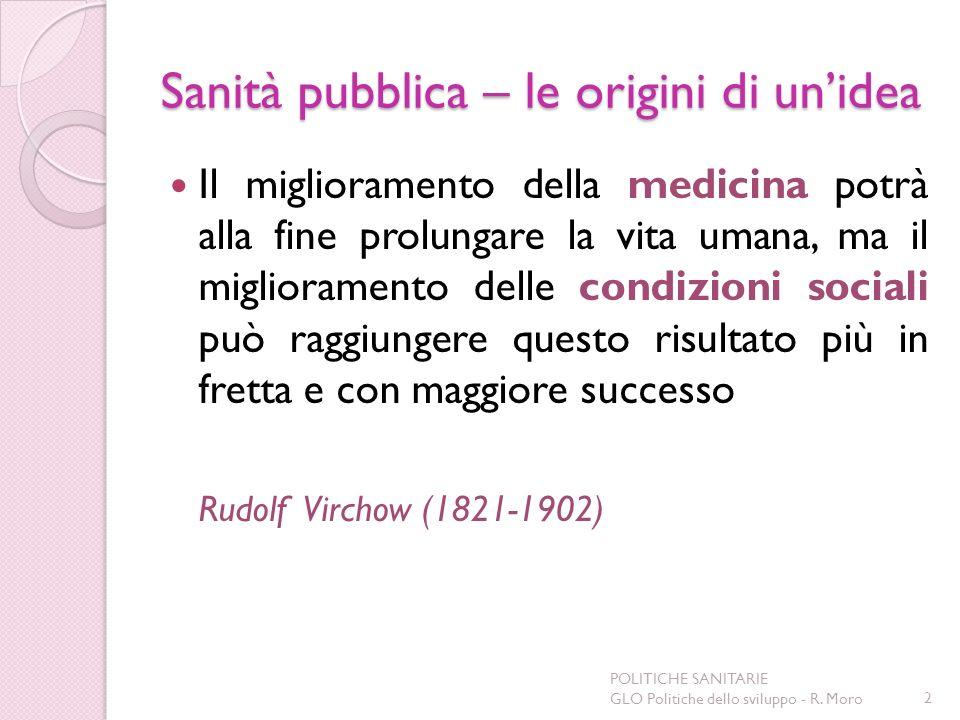 Sanità pubblica – le origini di unidea Il miglioramento della medicina potrà alla fine prolungare la vita umana, ma il miglioramento delle condizioni