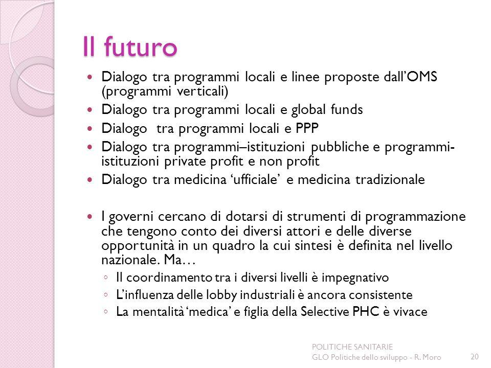 Il futuro Dialogo tra programmi locali e linee proposte dallOMS (programmi verticali) Dialogo tra programmi locali e global funds Dialogo tra programm
