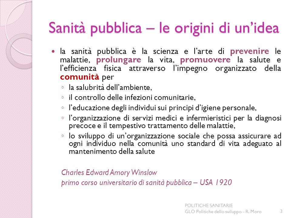 Sanità pubblica – le origini di unidea la sanità pubblica è la scienza e larte di prevenire le malattie, prolungare la vita, promuovere la salute e le