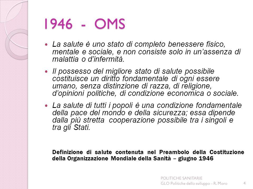 1946 - OMS La salute è uno stato di completo benessere fisico, mentale e sociale, e non consiste solo in unassenza di malattia o dinfermità. Il posses