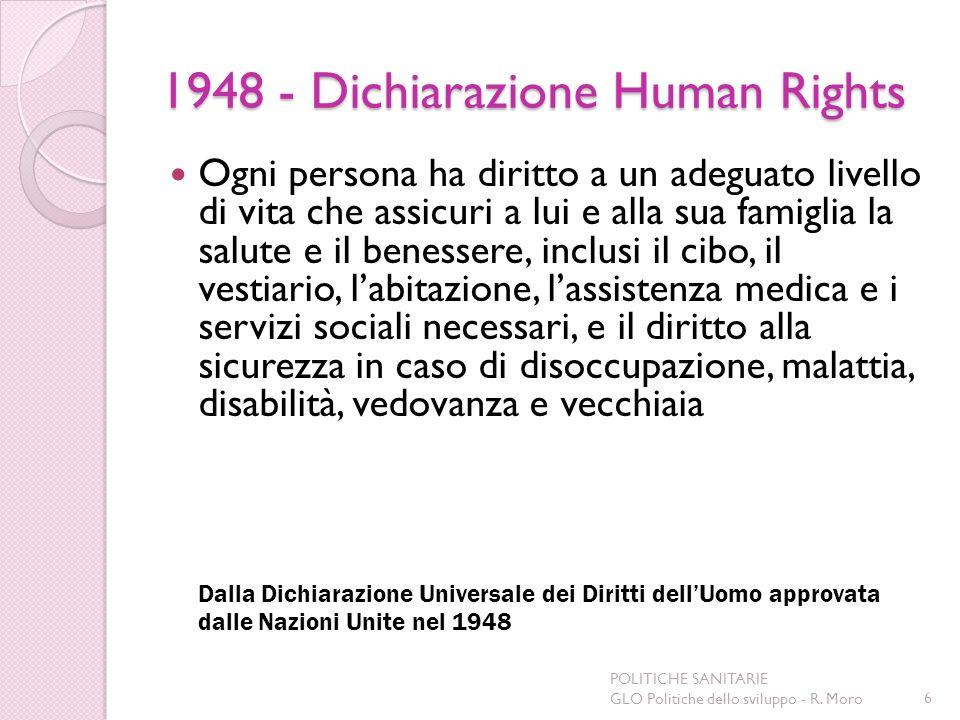 1948 - Dichiarazione Human Rights Ogni persona ha diritto a un adeguato livello di vita che assicuri a lui e alla sua famiglia la salute e il benesser